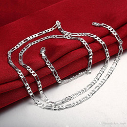 Wholesale Brass Gift Ideas - 4MM Figaro Chain for DIY Jewelry Jewelry Making Ideas Classic Silver Plated Chain Necklace Fashion Jewelry Gift 16 18 20 22 24 Inches