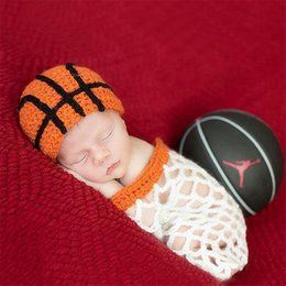 Wholesale Newborn Crochet Sets - Baby Photography Props Cute Clothing Wool Manual Handmade Crochet Set Rabbit Basketball Red Hat And Pants Set Photo Accessories