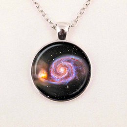Wholesale Gifts Astronomy - GALAXY NECKLACE UNIVERSE Pendant necklace ASTRONOMY JEWELRY Space universe Art Gifts for Her Turquoise White