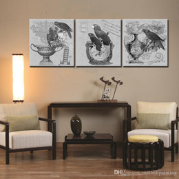Wholesale Black Square Picture Frame - 3 Picture Combination Parrot - Art Print & Wall Art Solid Wood Framed Read to Hang for Home and Office Black & White