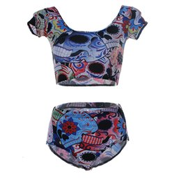 Wholesale Tights Bones - Summer Beach Swim Set Fashion Tight Breathable Two-Piece Swimwear Hot Lovely Skull Bone Bathing Suit Women Push Up Tracksuit LNHst
