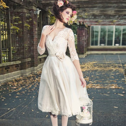 04383b3e34b7 free shipping A-line short Wedding Dresses 2017 ivory white long sleeves V  neck lace appliques bridal Gowns in stock