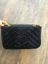 Wholesale Black Suede Handbag - Marmont shoulder bags women luxury brand Suede Velvet chain crossbody bag handbags famous designer purse high quality female bag
