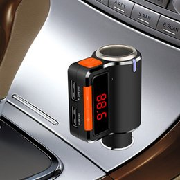 Wholesale Mp3 Car Player Cigarette Lighter - New Bluetooth Car FM Transmitter Handsfree kit Dual USB Charger Car MP3 Player with Cigarette Lighter LED Display BC09