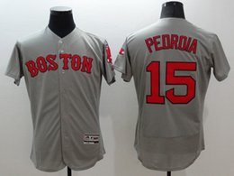 Wholesale Wholesale Elite Sox - #15 PEDROIA 2016 Red sox Baseball Jerseys Elite Men FLEX BASE Grey Jerseys stitched Top quality Mix Order Free Shipping