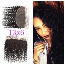 "Wholesale Tangle Shed Free Human Hair - 8-24"" Deep Wave Full Lace Frontal Mongolian Closure No Tangle No Shedding 100% Virgin Human Hair 13x6 Lace Frontals G-EASY"