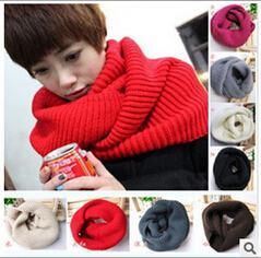 Suéter de invierno de corea online-10 UNIDS otoño invierno mujer coreana tejida bufandas pañuelo cuello color puro 20colors hombres bufandas damas 120 * 30 CM envío gratis