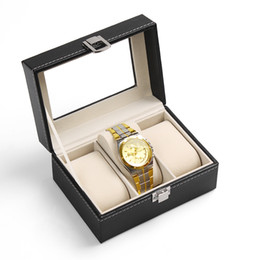 Wholesale Leatherette Jewelry Boxes - 2016 New and Fashion 3 Grid Black Leather Jewelry display casket   Jewelry organizer Wristwatch box  case for Jewlery gift box