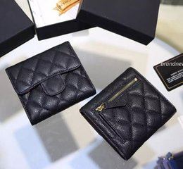 Wholesale Leather Id Card Holders - Free shipping Classic Short three Folding Card ID Holder women wallet genuine leather famous brand caviar lambskin short wallets 086