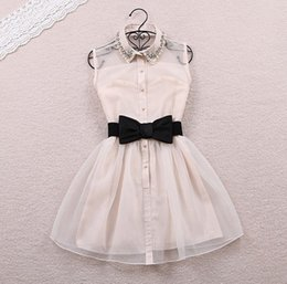 Wholesale Dress Chiffon Overlay - Petite Cute Beaded Mini Dress With Bow Belt Women Lapel Sleeveless Shirt Dresses Tulle Overlay White Black Princess Party Dress PDF0430
