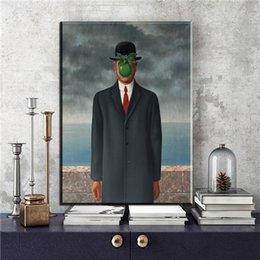 Wholesale Night Artists - The School Master Good Night Moon Men Woman by Artist Rene Magritte Canvas Art Print Painting Poster Wall Decor Home Decor