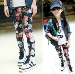 Wholesale Girls Trousers Pants Floral - Children pants teenage big girls leggings kids floral printed trousers autumn fashion girl velvet stretch bottomings tights R0310