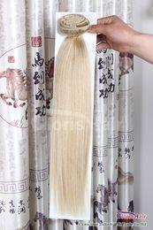 """Clipe de cabelo platina on-line-Chegada nova Reta de Seda Cabeça Cheia Brasileiro Remy Clipe em Extensões de Cabelo Humano # 60 Loira Platinum 7 pçs / set 70g 18 """"-22"""""""