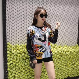 Wholesale Women Clothes Bunnies - Hot 2016 autumn new cartoon Hoodie Bugs Bunny women clothing printed long-sleeved sweater women autumn clothing casual coat