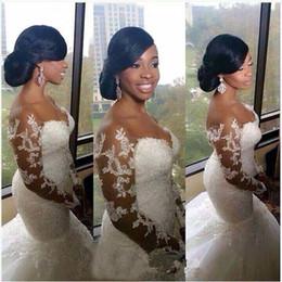 Wholesale Brush Shoulders - 2015 Vintage Off Shoulder Lace Wedding Dresses Sheer Long Mermaid Wedding Dresses Appliques Brush Train Beads 2016 Country Bridal Gowns