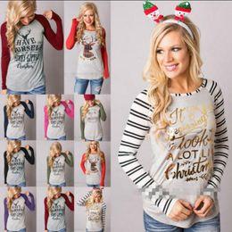 Wholesale Elk Shirt - Christmas T-Shirt Women Xmas Elk Shirts Santa Claus Tops Long Sleeve Blouse Loose Casual Tees Print Blusas 16 Styles OOA3036