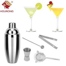 Wholesale Cocktail Measure Cup - Hourong 5 Pcs 750ml Stainless Steel Cocktail Shaker Set Ice Strainer Clip Mixing Spoon Measure Cup Bar Tools Cocktail Set