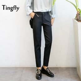 Wholesale Women Straight Elegant Black Pants - Tingfly Women Trousers Work Wear Elegant Winter Slim Cotton Long Black Pants Plus Size Female Pants Pantalones Mujer