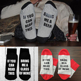 Wholesale Beer Socks - If You can read this Bring Me a Glass of Wine Beer letter Print Stylish Cotton Socks unisex Female Thermal Warm Christmas Socks
