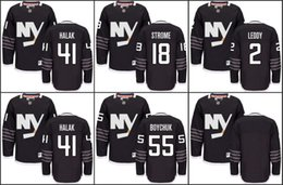 Ryan strome онлайн-2016 НХЛ Кубок Стэнли Нью-Йорк Айлендерс хоккейные майки 41 Халак 17 Мэтт Мартин 18 Райан Стром 2 Ник Ледди черный сшитые Джерси