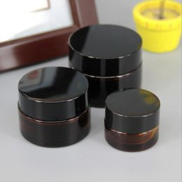 Wholesale amber bottles - 20g 30g 50g brown amber glass cream jar with black lid, 30 gram cosmetic jar,packing for sample eye cream,30g bottle