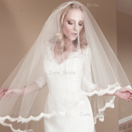 Wholesale Fingertip Covers - Alencon Lace Veils Bridal Hair Accessory Bridal Hair Cover New Style Factory Custom Made White Ivory Fingertip Length Two Layer Wedding Veil