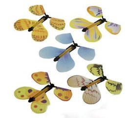 Wholesale Wholesale Book Bands - Magic Magic Tricks Butterfly Fairy Flying in the Book Rubber Band Powered Wind Up Butterfly Toy Surprise Wedding Birthday Gift Free Shipping