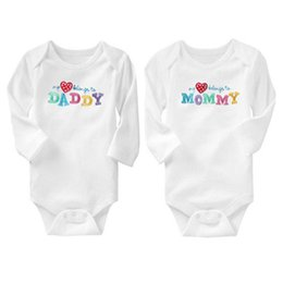 Wholesale Onesies Tutus - AbaoDo hot sale 100% cotton baby bodysuit I love Dad & Mom rompers long sleeve infants onesies 2 piece sets children clothing drop shipping