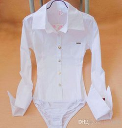 Wholesale Shirt Puff Sleeves - Sexy Women Pocket Pointed Cuff Bodysuit Blouse Slim Long Sleeve Ladies Career Button Down White Shirts Tops Cloth Free shipping