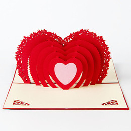 Wholesale Thanks Card Birthday - Free shipping handmade pop up greeting cards thank you cards birthday card decorations Creative stereoscopic 3D love Valentine Greeting Card