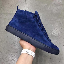 Wholesale Italy Designer Shoes - Italy Top Luxury Designer BL Arena Casual Shoes Men Lacing Leather Arena Suede High-Top Trainers Men Sneakers High Cut Black Blue Grey