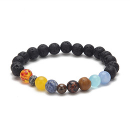 Wholesale Galaxy Systems - Universe Galaxy The Nine Planets In The Solar System Guardian Star Bracelets Natural Stone Strand Beads Bracelet For Women Men D346S