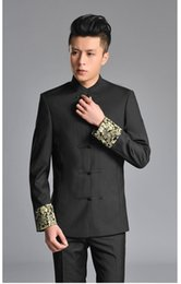 Wholesale Traditional Chinese Wedding Clothes - Retro Tang Suit Chinese Traditional Clothes Golden Dragon Embroidery Oriental Button Design Suit Jackets Mens Tunic Wedding Suit