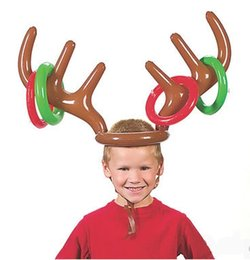 Wholesale Reindeer Antlers Wholesale - 100pcs 2017 Inflatable Kid Children Toys Fun Christmas Toy Toss Game Reindeer Antler Hat With Rings Hats Party Supplies ZA1158