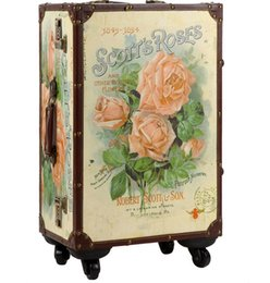"""Wholesale Trolley Trunk Suitcase - 20 24""""inch lovely Rose about trolley suitcase luggage durable traveller case PU Vintage Pull Rod trunk boarding bag Women Girl"""