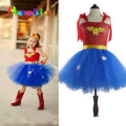 Wholesale 2t Girl Costume - Superhero Wonder Woman Girl Tutu Dress Kids Cosplay Costume Christmas Halloween Dress Up Tutu Dresses Baby Photo Props