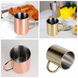 Wholesale Glass Steel Handle - Copper Plated Mug Moscow Mule Mug Beer Coffe Water Glass Drinkware Handle Stainless Steel Cup Drinkware KKA2931