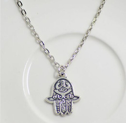 Wholesale Bags For Gifts Cheap Wholesale - cheap promation!! simple vintage antique silver color hamsa pendant necklace fatima necklace for women chorke lucky - Free organza bags gift
