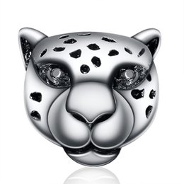 Wholesale Leopard Fashion Jewelry - Wholesale Snow Leopard With Crystal Charm 925 Sterling Silver European Charms Beads Fit Snake Chain Bracelets Fashion DIY Jewelry
