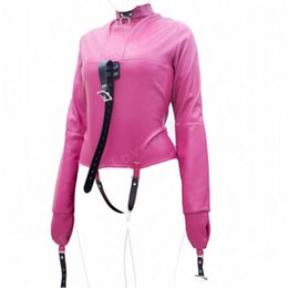 Wholesale Chastity Female Pink - Leather straitjacket Teddy Bondage Chastity Belt SexErotik Clothing