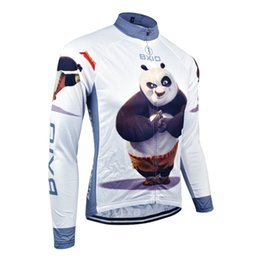 Wholesale thermal clothing for men - Bxio Winter Thermal Fleece Cycling Jerseys And Autumn Long-sleeved Shirt Cycling Cothes Only Jersey Panda Pattern Bikes Clothes For BX-081