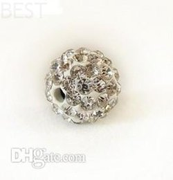 Wholesale Pave Beads 8mm - Best! free shipping 8mm white Micro Pave CZ Disco Ball Crystal Shamballa Bead Bracelet Necklace Beads.MJPW Wholesale! Stock!Mixed Lot!