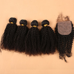 Wholesale Hair Silk Products - Slove Hair Products 7A Indian virgin hair 4 bundles Indian Kinky Curly with Silk Base closure Raw IndianKinky Curly Human Hair
