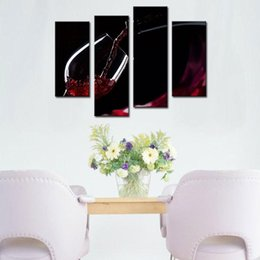 Wholesale Canvas Wine Decor - 4 Picture Combination Wall Art Painting A Cup Of Wine Pictures Prints On Canvas Picture - For Home Modern Decor Or As Gift