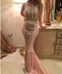 Wholesale Turkish Sexy - 2016 Caftan Pink Dubai Celebrity Dresses Lace Arabic Abayas with Long Sleeves Pearls Beadeds Turkish Evening Dresses for Woman