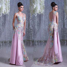 Wholesale Lace Couture Evening Gowns - 2016 Toumajean Couture Sheer Backless Evening Dresses Mermaid V Neck Colorful Beaded Prom Gowns Floor Length Tulle Evening Dress