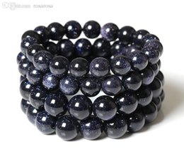 Wholesale Blue Goldstone Bracelet - Wholesale-Blue Goldstone Stretch Bracelet 6,8,10 mm.Dark Blue Sparkling Sand Stone Smooth Round Beads,Charm beaded bracelet B510