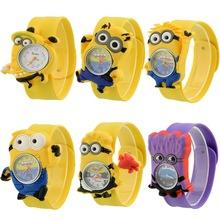 Wholesale Despicable Men - Despicable Me Cartoon little yellow men children Slap Snap Watch Precious Milk Dad patted silicone watches for boys girls free 10pcs