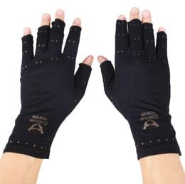 Wholesale Finger Pain - Arthritis Compression Gloves Copper Hands Gloves Women Men Health Care Half Finger Ache Pain Rheumatoid Therapy Sports Gloves 300pcs OOA2491