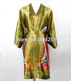 Wholesale Silk Lingerie Kimono - Wholesale- Army Green Chinese Lady Silk Rayon Robe Nightgown Short Sexy Intimate Lingerie Kimono Pajama Plus Size S M L XL XXL XXXL NR050